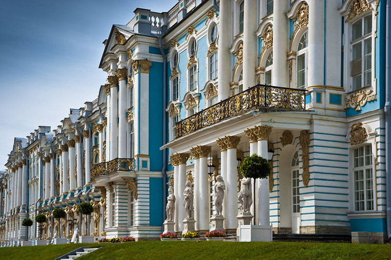 Main entrance to Catherine Palace in Tsarskoye Selo (Pushkin), south of St Petersburg, Russia