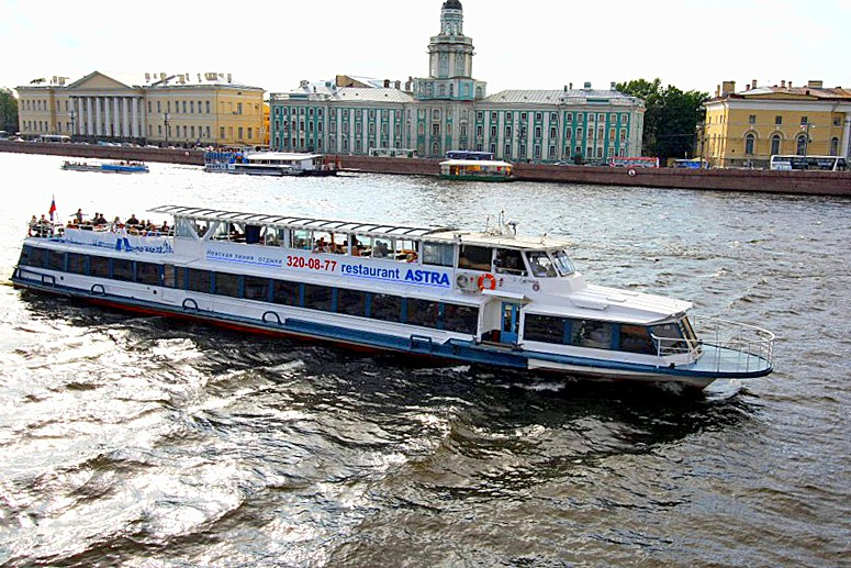 Astra Riverboat Restaurant at Neva River in St Petersburg, Russia