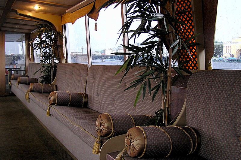 Lounge Area of Hit Neva Musical Riverboat in St Petersburg, Russia