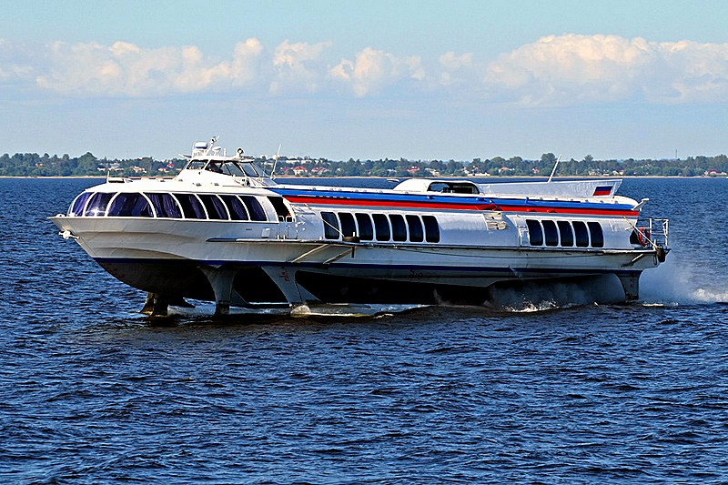 Tour boat Meteor in Gulf of Finland near St Petersburg, Russia