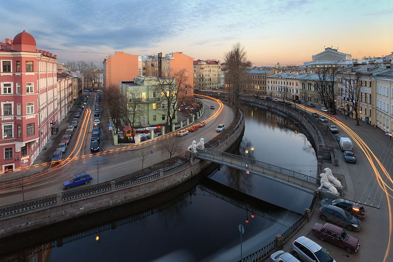 Lion Bridge and a view of the Griboedov Canal in St Petersburg, Russia