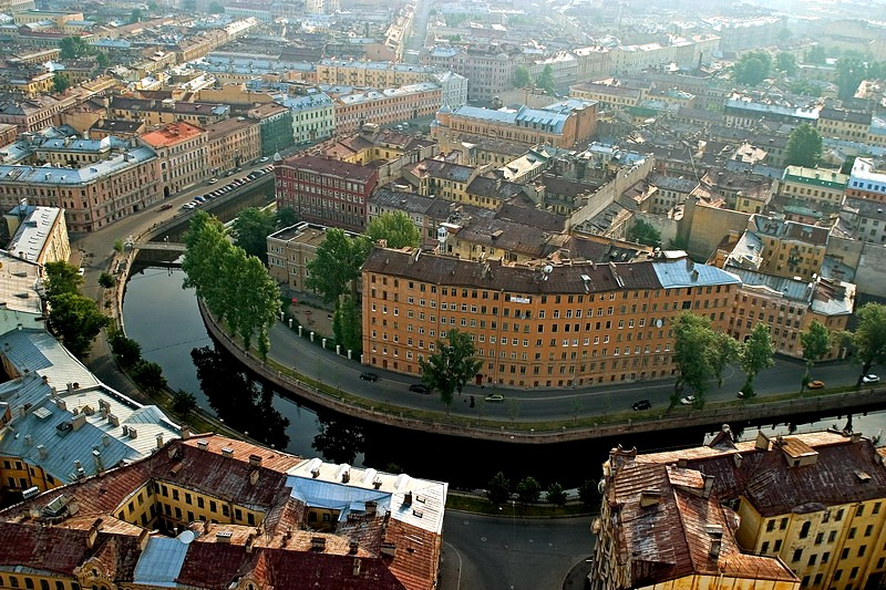 Sharp turn of the Griboedov Canal in St Petersburg, Russia