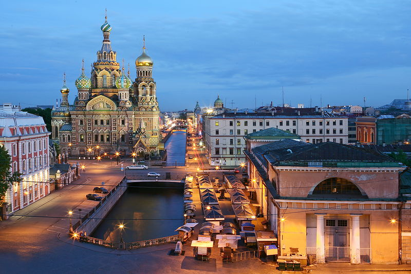 View onto the Griboedov Canal and the Church of Our Savior on the Spilled Blood in St Petersburg, Russia