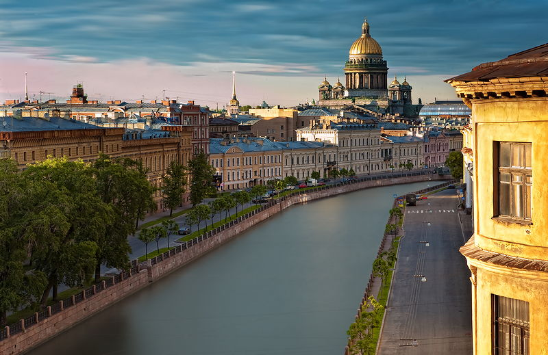 Moyka River and St.Isaac's Cathedral in Saint-Petersburg, Russia