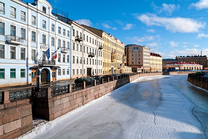 Winter view of the Moyka River in St Petersburg, Russia