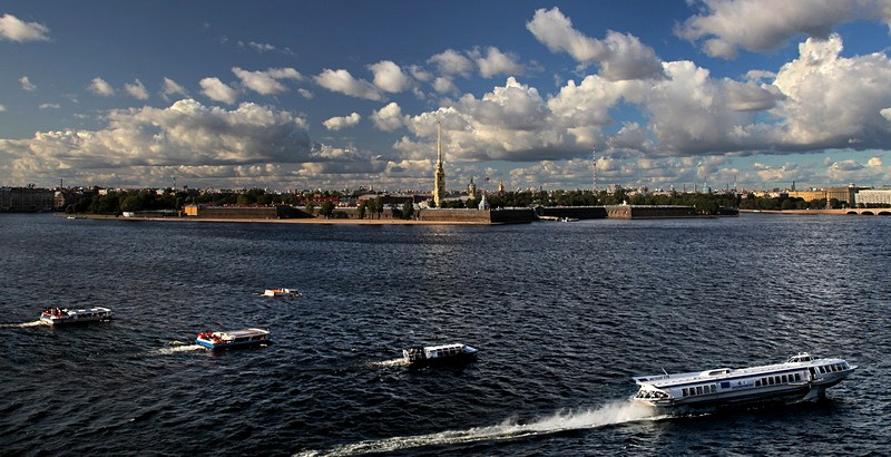 Boats on the Neva River in St Petersburg, Russia