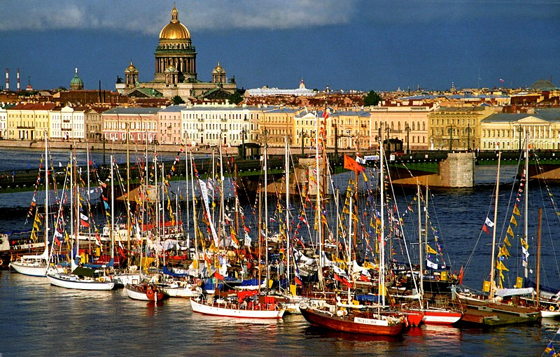 Festive yachts moored next to Blagoveshchenskiy Bridge in St Petersburg, Russia