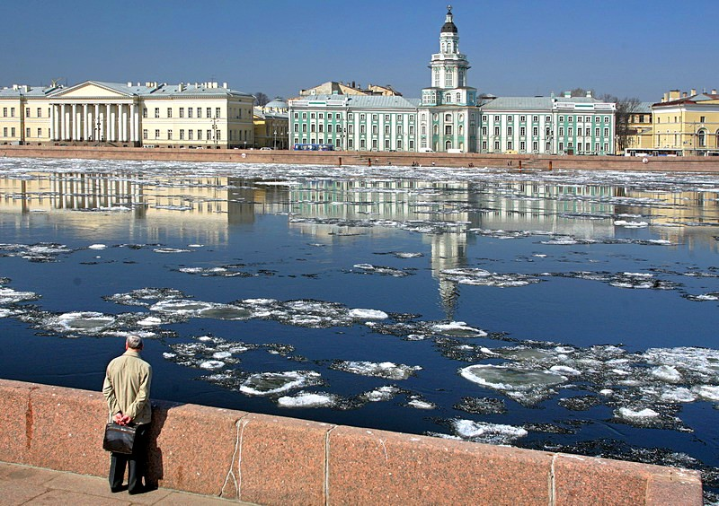Ice on the Neva River opposite the Kunstkammer in Saint-Petersburg, Russia