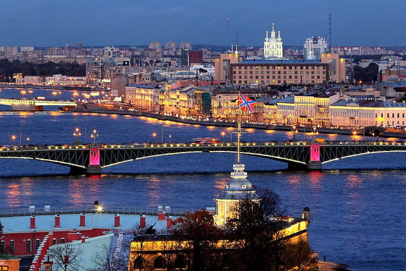 Night illumination of the Neva River bridges in St Petersburg, Russia