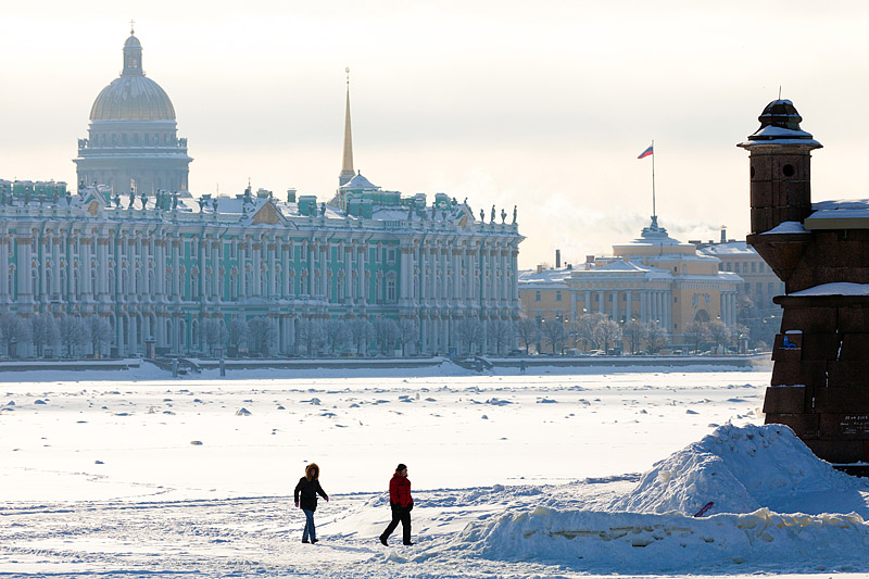 Winter view of the Neva River in St Petersburg, Russia in St Petersburg, Russia