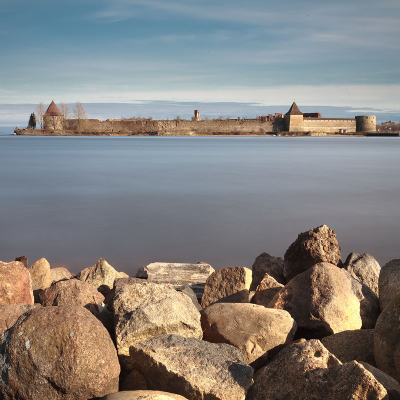 View of medieval Oreshek Fortress from a river bank east of St Petersburg, Russia