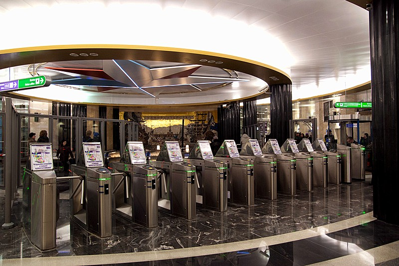 Turnstiles at the entrance to the metro system in St Petersburg, Russia
