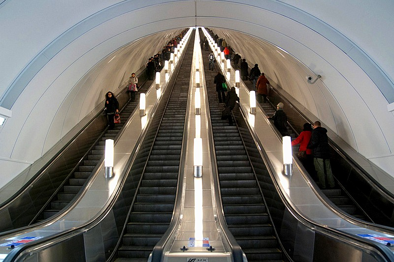 Escalators at Admiralteyskaya, the deepest station on the St. Petersburg Metro