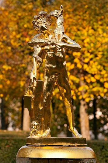 Sculptures in Lower Park of Peterhof near St. Petersburg, Russia