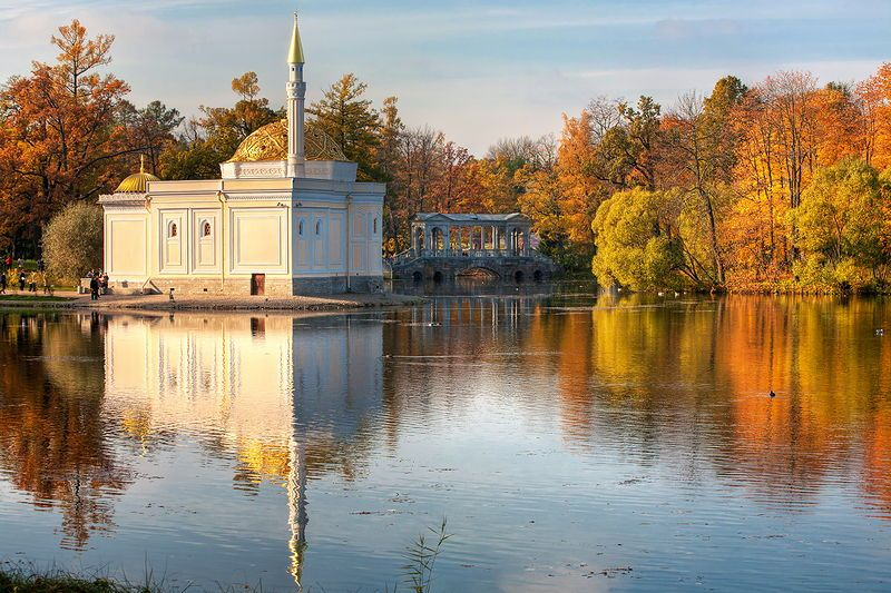 Turkish Bath and Marble Bridge in Catherine Park in Tsarskoye Selo (Pushkin), south of St Petersburg, Russia
