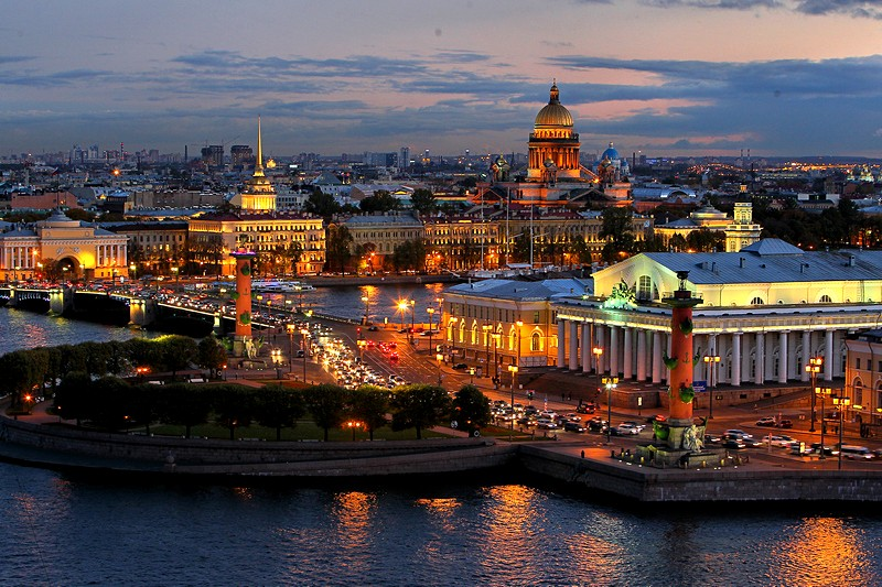 The Stock Exchange and the Rostral Columns in Saint Petersburg, Russia