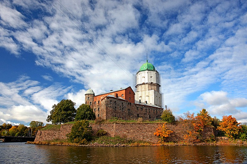 Autumn view of Vyborg Castle in Vyborg, northwest of St Petersburg, Russia