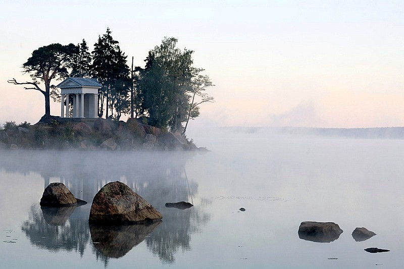 Temple of Neptune at Monrepo (Mon Repos) Estate in Vyborg, northwest of St Petersburg, Russia