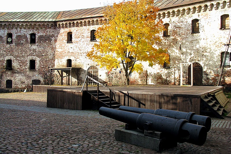 The yard of medieval Vyborg Castle in Vyborg, northwest of Saint-Petersburg, Russia