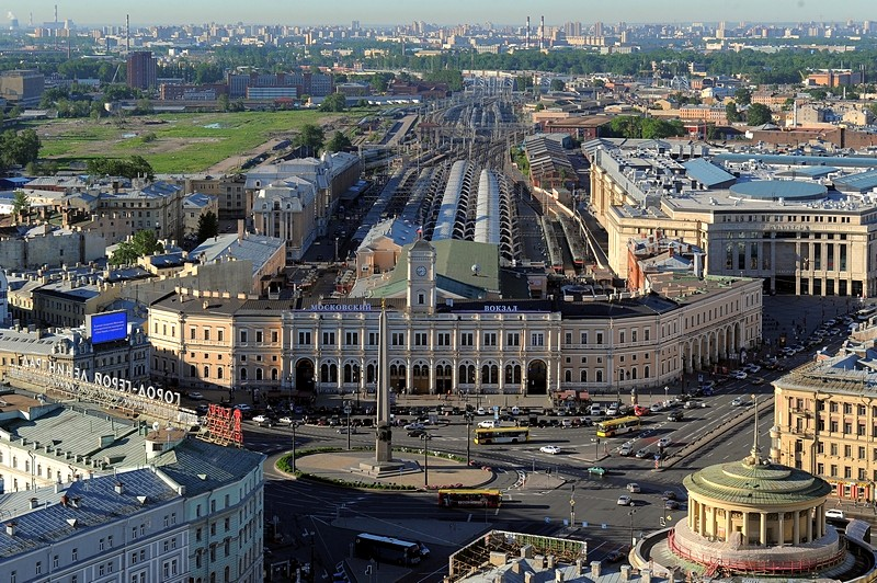Moscow Railway Station in St Petersburg, Russia, and the railway track designed by George Washington Whistler