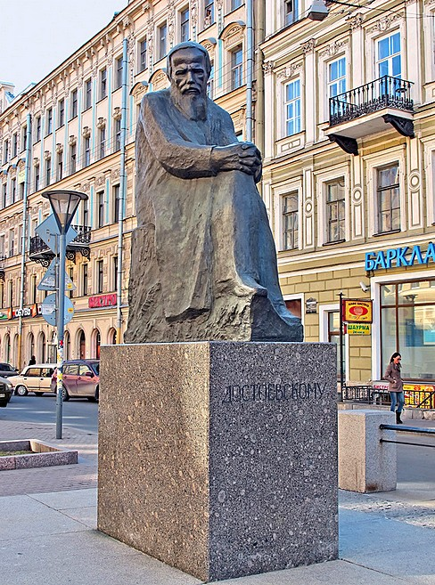 Statue of Fyodor Dostoevsky in St. Petersburg, Russia