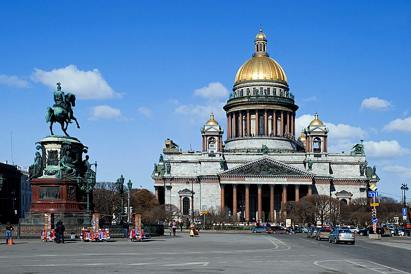 Montferrand's St. Isaac's Cathedral and Monument to Nicholas I in St Petersburg, Russia