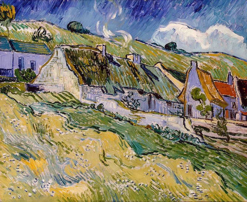 Cottages with Thatched Roofs by Vincent van Gogh at the Hermitage in St. Petersburg, Russia