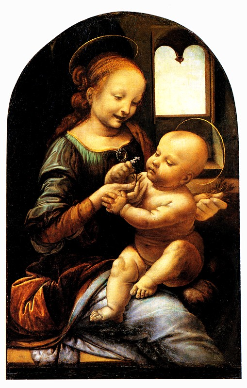 Madonna and Child with Flowers (Benois Madonna) by Leonardo da Vinci at the Hermitage in St. Petersburg, Russia
