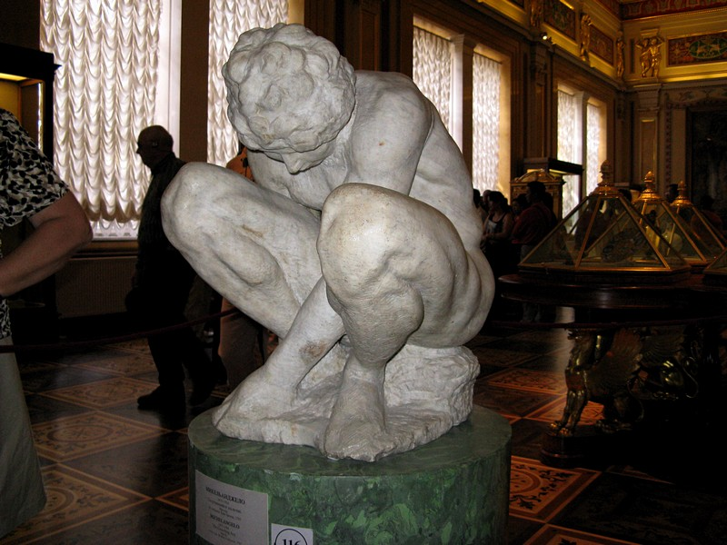 The Crouching Boy by Michelangelo at the Hermitage in St. Petersburg, Russia