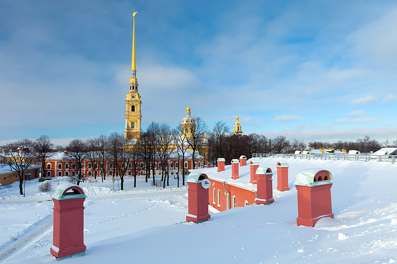 Peter and Paul Fortress with the Cathedral of Ss. Peter and Paul built by Domenico Trezzini in St Petersburg, Russia