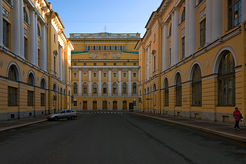 Alexandrinsky Theatre and the Vaganova Ballet School (right) on Ulitsa Zodchego Rossi, built by Carlo Rossi in St Petersburg, Russia
