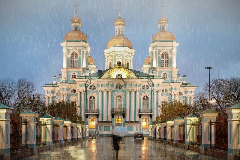 St. Nicholas Maritime Cathedral in St Petersburg, Russia on a rainy day
